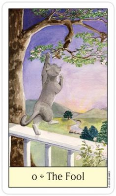 Le Fou - The Fool ~~~ Card Images from the Cat's Eye Tarot ~~~ Tarot Card Decks, Tarot Cards, Tarot Major Arcana, Oracle Tarot, Sacred Art, Deck Of Cards, Cat Art, The Fool, Painting