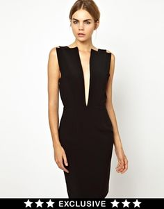 Black Solace London Conquest Backless Pencil Dress with Deep V Neck $125 LOVE IT! @ ASOS