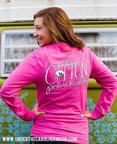 Long Sleeve Southernology™ Wait a Cotton Pickin' Minute | underthecarolinamoon.com