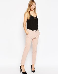 Image 1 of ASOS Cigarette Trousers with Belt