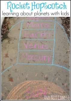 Exploring outer space with rocket shaped hopscotch. A fun way to learn about planets from And Next Comes L
