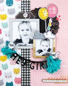 """Hey Girl"" scrapbooking layout by Jen Gallacher from www.jengallacher.com…"