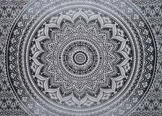 Black and White Ombre Mandala Cute Wall decor Tapestry Twin Size Bedding Hippie #TapestryTrade #Ethnic