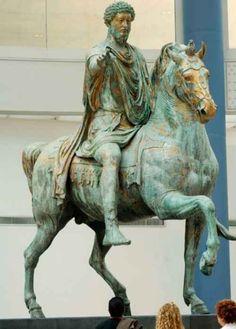 Marcus Aurelius on horseback, Rome. AD 164-66. Gilded bronze.