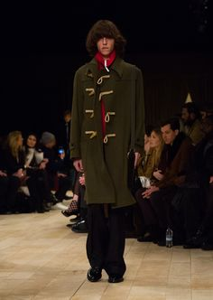 The Duffle Coat in light military green wool and cashmere blend with The Satchel and The Derby shoes