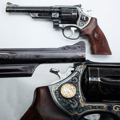 Double-Action .357 revolver- This double-action .357 revolver that has it all: elaborate engraving, gold monogram inlay, sculptured/checkered grip panels, and more. It's really the little details that appeal on this gun, from the smoothed rear sight base to allow floral engraving to the caliber designation on the side of the barrel. Some of the most sinuous curves we've ever seen follow the outline of the checkered grips on this sixgun.