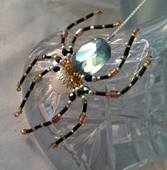 NEW Unique Beaded Spiders, Halloween Beaded Spider Wall HangingS