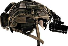 tactical head gear - helmet with night vision goggles, torch, smith optics ballistic eyewear and hearing protectors
