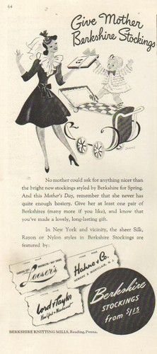 This Mother's Day, give mother Berkshire Stockings (1942). #vintage #stockings #1940s #ads #Mothers_Day