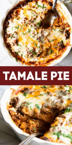 Tamale Pie is made with juicy ground beef on top of a cornbread crust, all drenched in a bold enchilada sauce. This casserole recipe is an easy spin on tamales making it perfect for a weeknight dinner. Mexican Dishes, Mexican Food Recipes, Dinner Recipes, Recipes With Chorizo, Mexican Desserts, Drink Recipes, Dinner Ideas, Enchilada Pie, Taco Pie