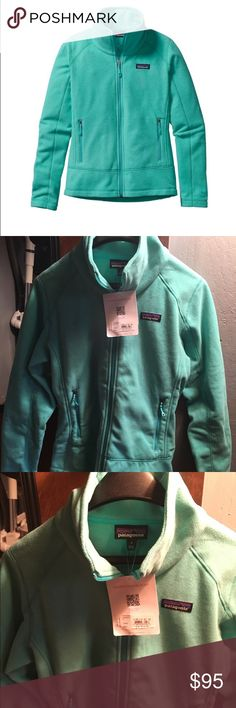 Patagonia Emmilen Jacket Women's Emmilen Jacket Size Small, Color: Howling Turquoise        Lightweight 100% polyester (30% recycled) heathered-fleece jacket. Fabric is bluesign® approved Center-front reverse coil zipper closure with a tall double-layer collar Modern style lines, a wide waistband and flat stitched princess seams on front and back Zippered handwarmer pockets Hip length Materials 5.7-oz 100% polyester (30% recycled) heathered fleece Patagonia Jackets & Coats