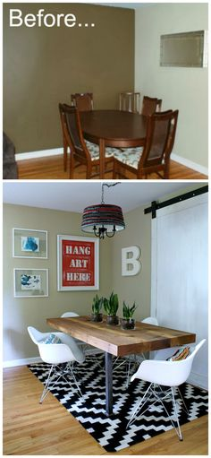 Dining room makeover on a budget, post is loaded with fun DIY projects!