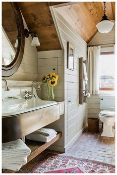 If you have a home that is just a tad on the modern side and you feel that something old-fashioned may need to be added, then you are in luck. You can easily make use of rustic barn style bathroom ideas for your home, and the items that you choose to decorate your bathroom'  #RusticBathroomDesigns #RusticBathroomDecor #FarmHouseBathroomDecor #BathroomShelfDecor #FloatingShelvesBathroom #BathroomDecorIdeasOnABudget #RusticHouseDecor #RusticApartmentDecor #MirrorShelves Rustic Bathroom Cabinet, Rustic Bathroom Designs, Modern Farmhouse Bathroom, Wood Bathroom, Modern Bathroom Design, Bathroom Interior, Small Bathroom, Bathroom Ideas, Bathroom Cabinets
