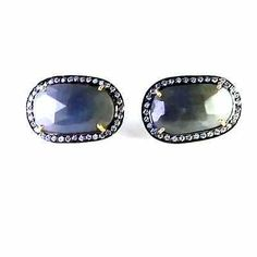 FREE SHIPPING 925 SOLID STERLING SILVER NATURAL BLUE SAPPHIRE STUDS JEWELRY