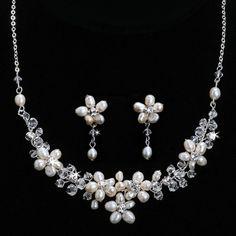 Freshwater Pearl Flowers Jewelry Set