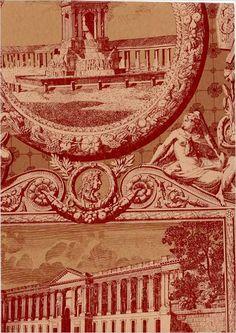 Les Vues de Paris Wallpaper Russet and fawn scenes of Paris wallpaper