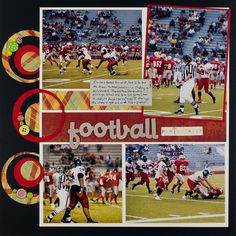 Football or any sport love the circle-punched border! @Melissa Squires Squires Squires Squires Squires #scrapbook #layout