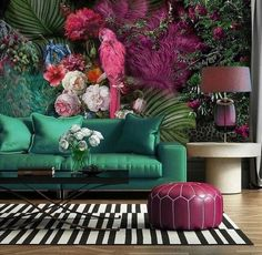 Parrot Wallpaper Floral Wall Mural Colorful Peony Flower Wall Print Tropcai Home Decor Cafe Design L