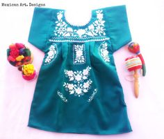 Esmeralda Mexican Embroidered Baby Dress por MexicanartDesigns Mexican Babies, Baby On The Way, Leggings, Mexican Art, Ely, Baby Dress, Floral Tops, Clothes, Dresses
