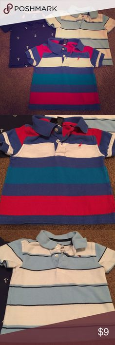 3 Polo Shirts Size 12 month bundle/lot Navy blue with anchors is carters, blue and white is Tommy Hilfiger, and red white and blues is Nautical. All in good shape! Carter's Shirts & Tops Polos