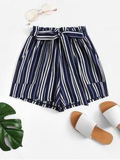 Boho Striped Wide Leg Regular Elastic Waist Mid Waist Navy Frill Trim Tie Waist Striped Shorts