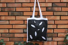 feather print tote cotton bag, shopping bag, ethnic inspiration