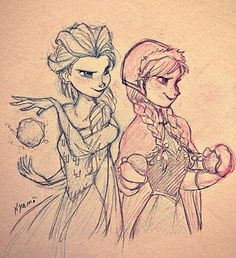 Elsa and Anna Fan Art || Frozen