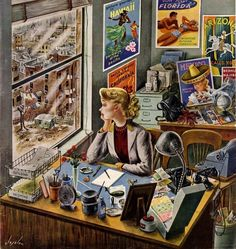 Travel Agent at Desk  by Constantin Alajalov