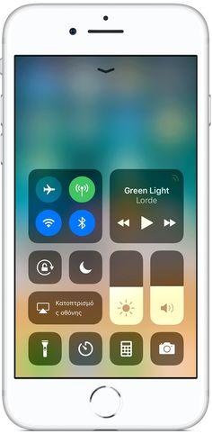 Με το iOS 11, μπορείτε να χρησιμοποιήσετε το Κέντρο ελέγχου για να τραβήξετε γρήγορα μια φωτογραφία,να ανάψετε τα φώτα, να χειριστείτε το Apple TV και πολλά άλλα. Μπορείτε ακόμη να προσαρμόσετε το Κέντρο ελέγχου, ώστε να έχετε άμεση πρόσβαση στις λειτουργίες που χρησιμοποιείτε πιο συχνά.