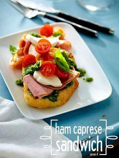 Ham Caprese Sandwich, only 6 ingredients! #sandwich #lunch #dinner