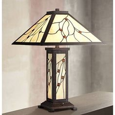 Robert Louis Tiffany Bexley Mission Nightlight Table Lamp - #8C275 | Lamps Plus