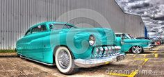 Custom designed 1950 light blue ford Mercury on display at car show in Melbourne, Australia