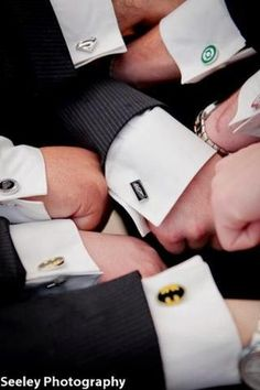 Superhero #cufflinks for the #groomsmen. I would like for my groomsmen and future husband to wear Disney cufflinks for our wedding at Disneyland.