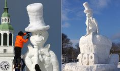 Amazing Cat in the Hat snowman at Dartmouth College in Hanover, New Hampshire Snowmen Pictures, Dartmouth College, Snow Sculptures, Dream School, Over The Top, Before I Die, Be True To Yourself, Summer Travel, New Hampshire