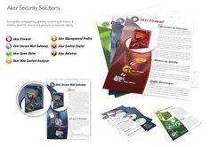 Identidade corporativa, ícones, embalagens e papelaria da Aker Security Solutions.