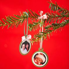 Family Photo Ornament Craft  Use a die-cutting tool to trim differnet color card stock and photo, using progressively smaller dies. Glue the photo to a silver or white cardstock circle, then to an olive-color ornament-shape. Thread a ribbon through a hole punched in the top of the paper ornament and tie in a bow for hanging loop. If desired, add a small bow at the base of the ornament cap.