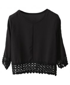 Lace-seamed Solid-tone Loose Blouse