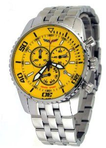 Corvette #CR215-9 Men's Stainless Steel Swiss Chronograph Yellow Dial Watch Corvette. $234.95. Water Resistant - 50M, Screw Down Case Back. Stainless Steel Case and Band, Fold Over Push Button Deployment Clasp with Safety Lock Feature. Case Size: 45mm Diameter, 14mm Thickness. Mineral Crystal, Day/Date Display, Chronograph Functions, Luminous Hands and Markers. Precise Swiss Quartz Movement