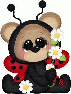 Silhouette Design Store - View Design ladybug bear sitting w flowers Cute Clipart, Tole Painting, Punch Art, Silhouette Design, Print And Cut, Kids Cards, Paper Piecing, Cartoon Art, Baby Quilts