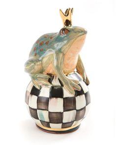"""MacKenzie-Childs Frog on Courtly Check Ball Маккензи-Чайлдс Лягушка на придворной Шаровые USD 190.00  Handcrafted статуэтка. Декорированный вручную майоликой. 0,5 """"Dia. Х 8,5"""" Т.  Сделано в США."""
