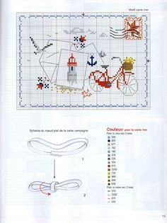 point de croix grille et couleurs de fils pour carte mer et vélo