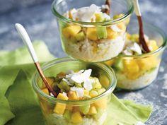 #Milchreis-Trifle mit Mango und Kokos-Chips | #vegan #Alnatura #Brunch #Dessert