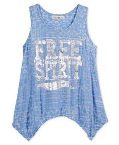 9a858fb8185d3 Kandy Kiss Girls' Graphic-Print Handkerchief-Hem Tank Top Kids - Shirts &  Tees - Macy's