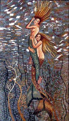 Blonde Mermaid Mosaic Design