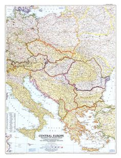 National geographic top of the world map 1949 vintage national central europe map 1951 central europenational geographicasiamaps gumiabroncs Choice Image