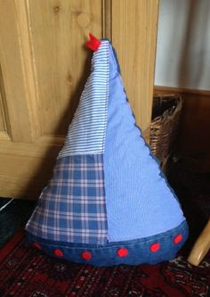 Up-cycled Denim and cotton shirt Door Stop - Sailing Boat style another bespoke order www.onlydenim.co.uk #denim Boat Fashion, Sailing Boat, Light Denim, Bespoke, Baby Car Seats, Diva, Recycling, Children, Shirt