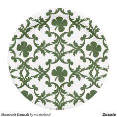 Shamrock Damask 9 Inch Paper Plate