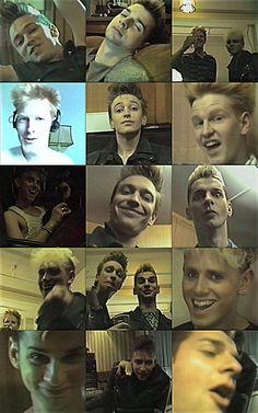 the many hilarious faces of Dave Gahan, Martin Gore, Alan Wilder and Andy Fletcher. IDIOTS HAHAHAHA.