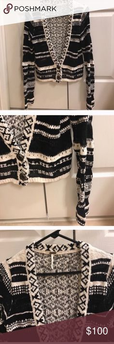 Size small black and cream Free People cardigan Size small black and cream Free People cardigan Free People Sweaters Cardigans