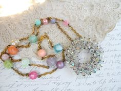 PARTY long upcycle pin necklace assemblage by lilyofthevally